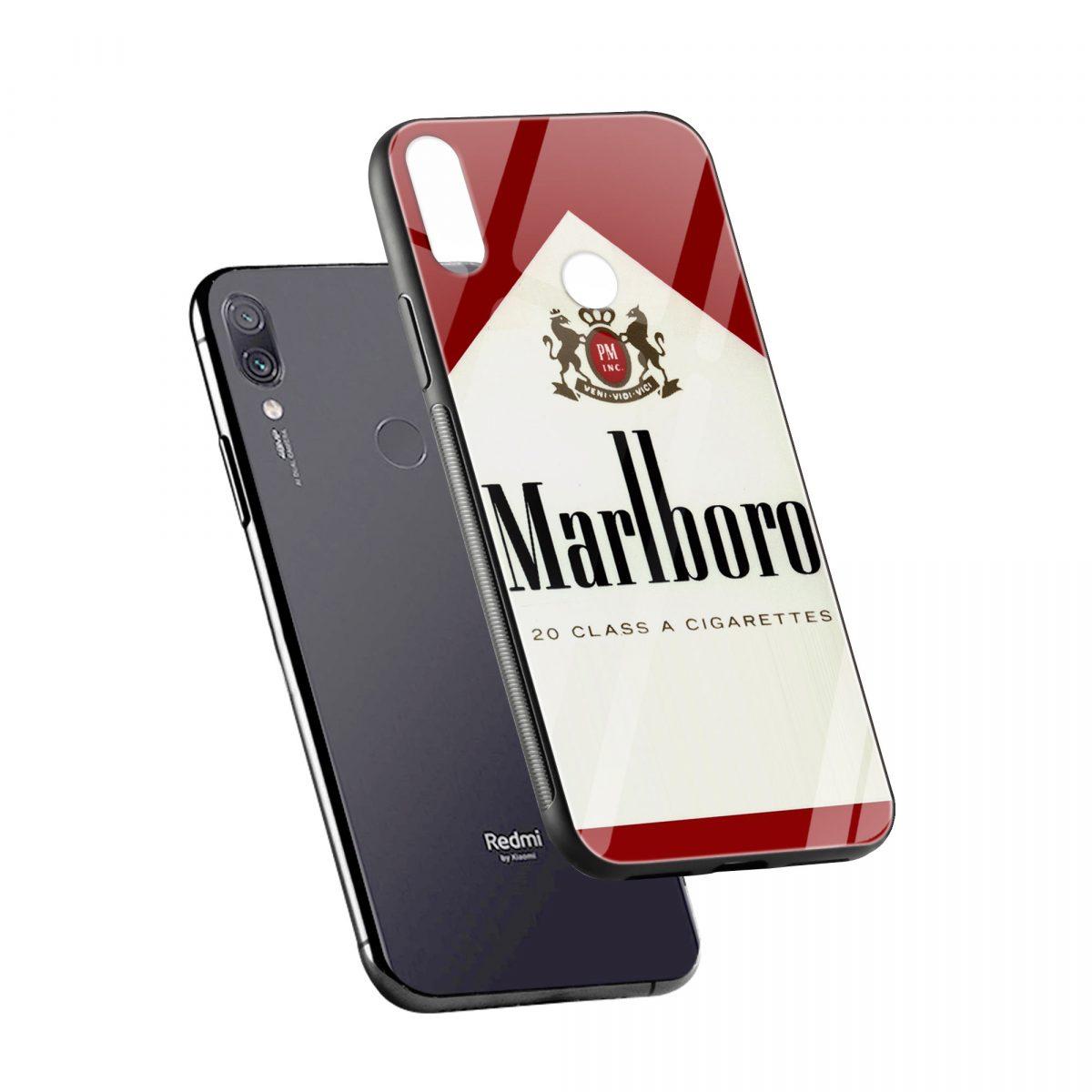 marlboro cigarette custom redmi note7 mobile cover diagonal view 1