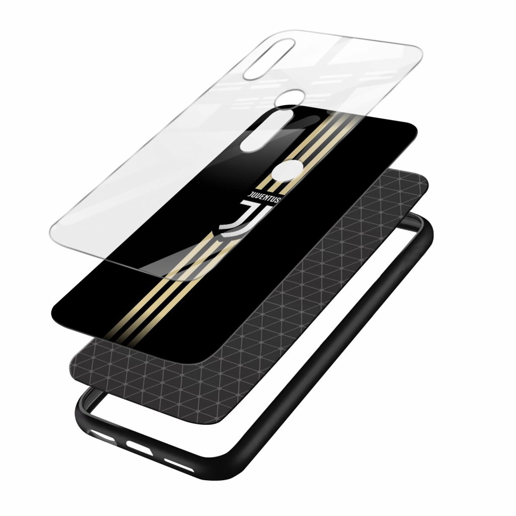 juventus golden strips black redmi note7 mobile cover layers view