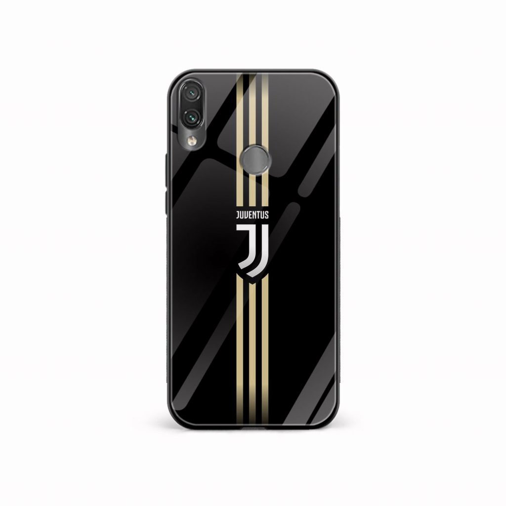 juventus golden strips black redmi note7 mobile cover front view