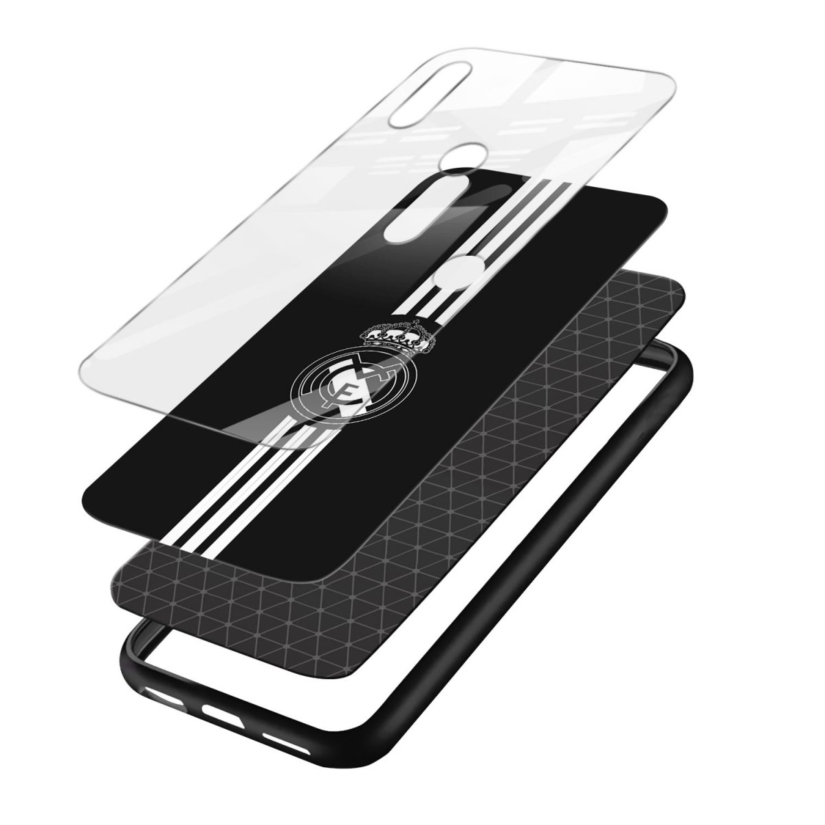 real madrid cf black redmi note7 mobile cover layers view 1