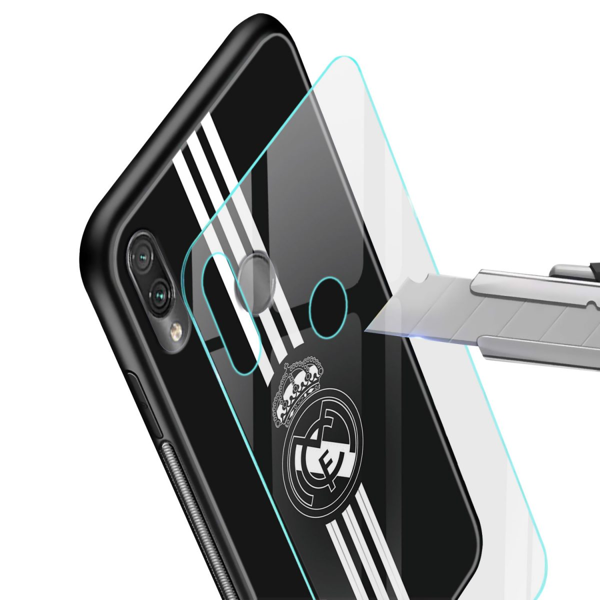 real madrid cf black redmi note7 mobile cover glass view 1