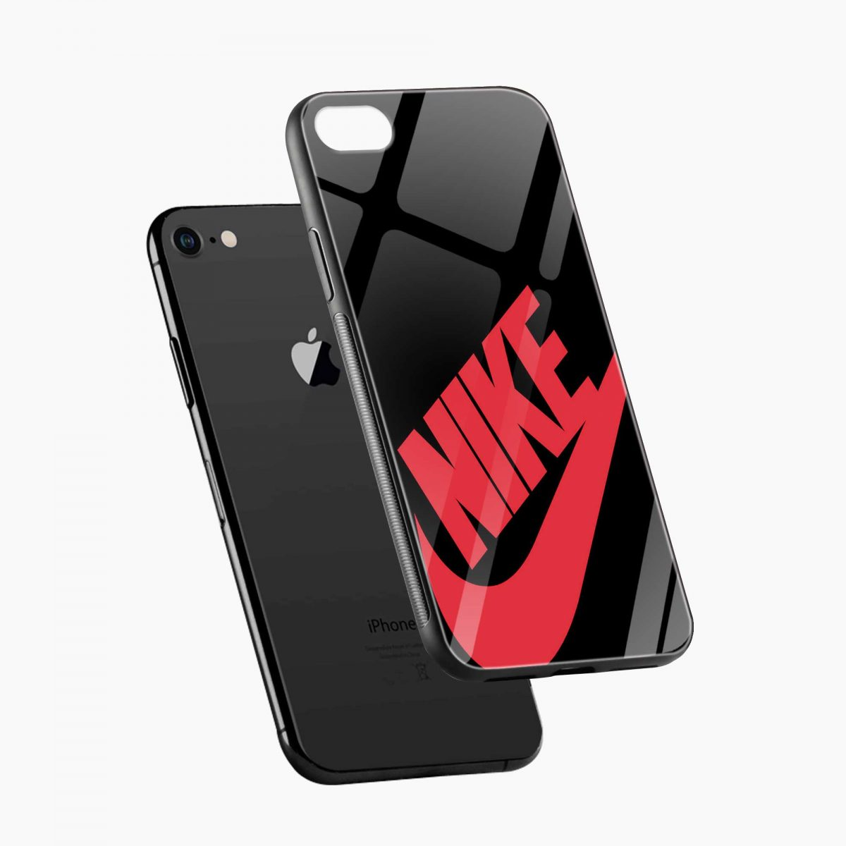nike black red diagonal view apple iphone 6 7 8 se back cover 1