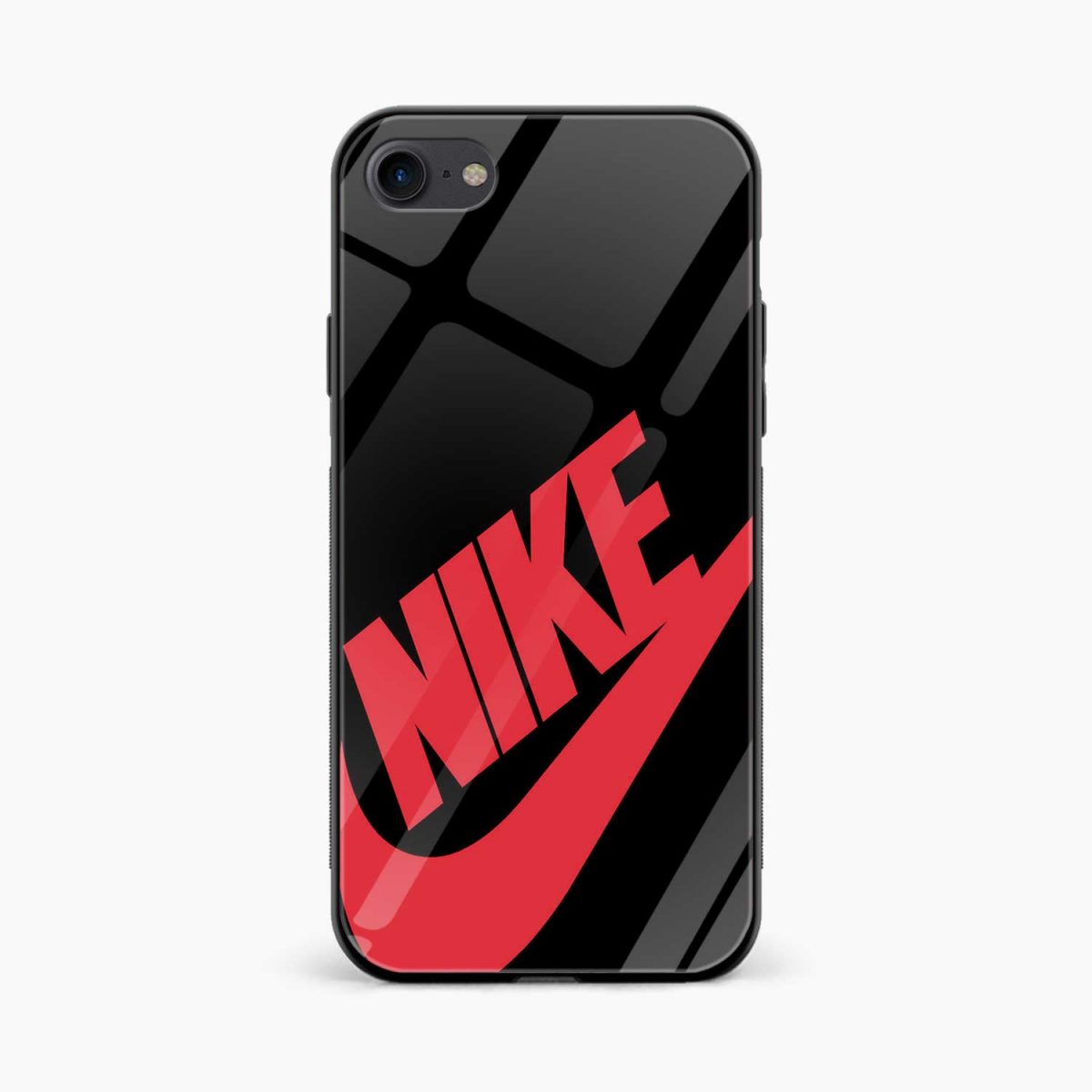 nike black red diagonal view apple iphone 6 7 8 se back cover 2