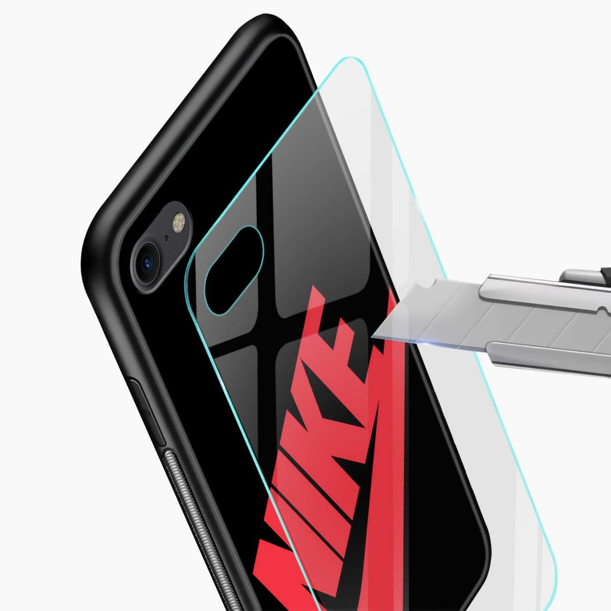 nike black red diagonal view apple iphone 6 7 8 se back cover 3