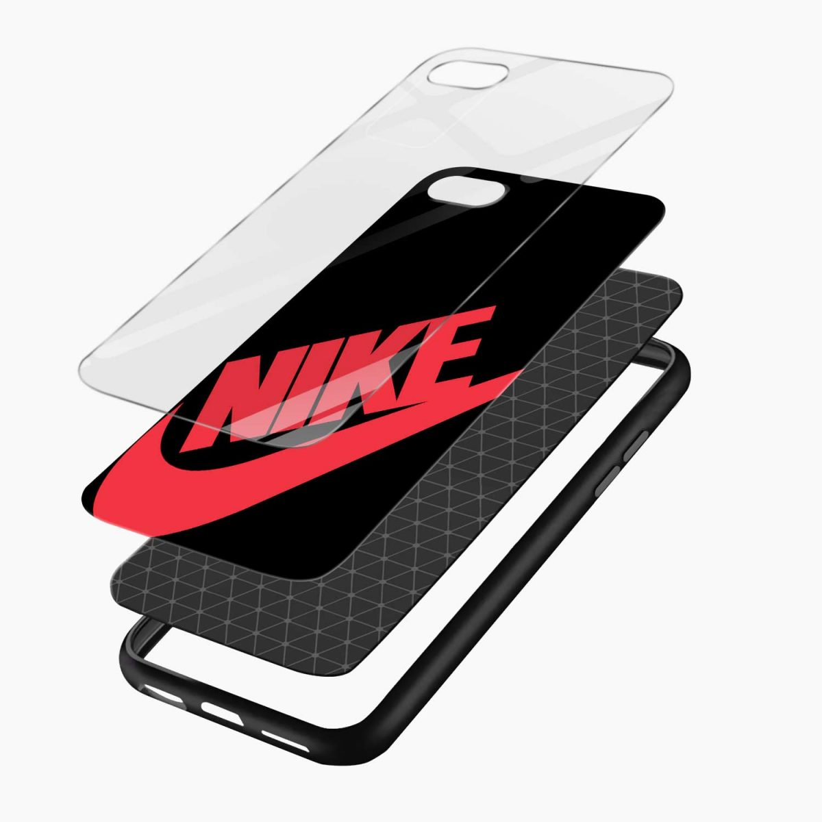 nike black red diagonal view apple iphone 6 7 8 se back cover 4