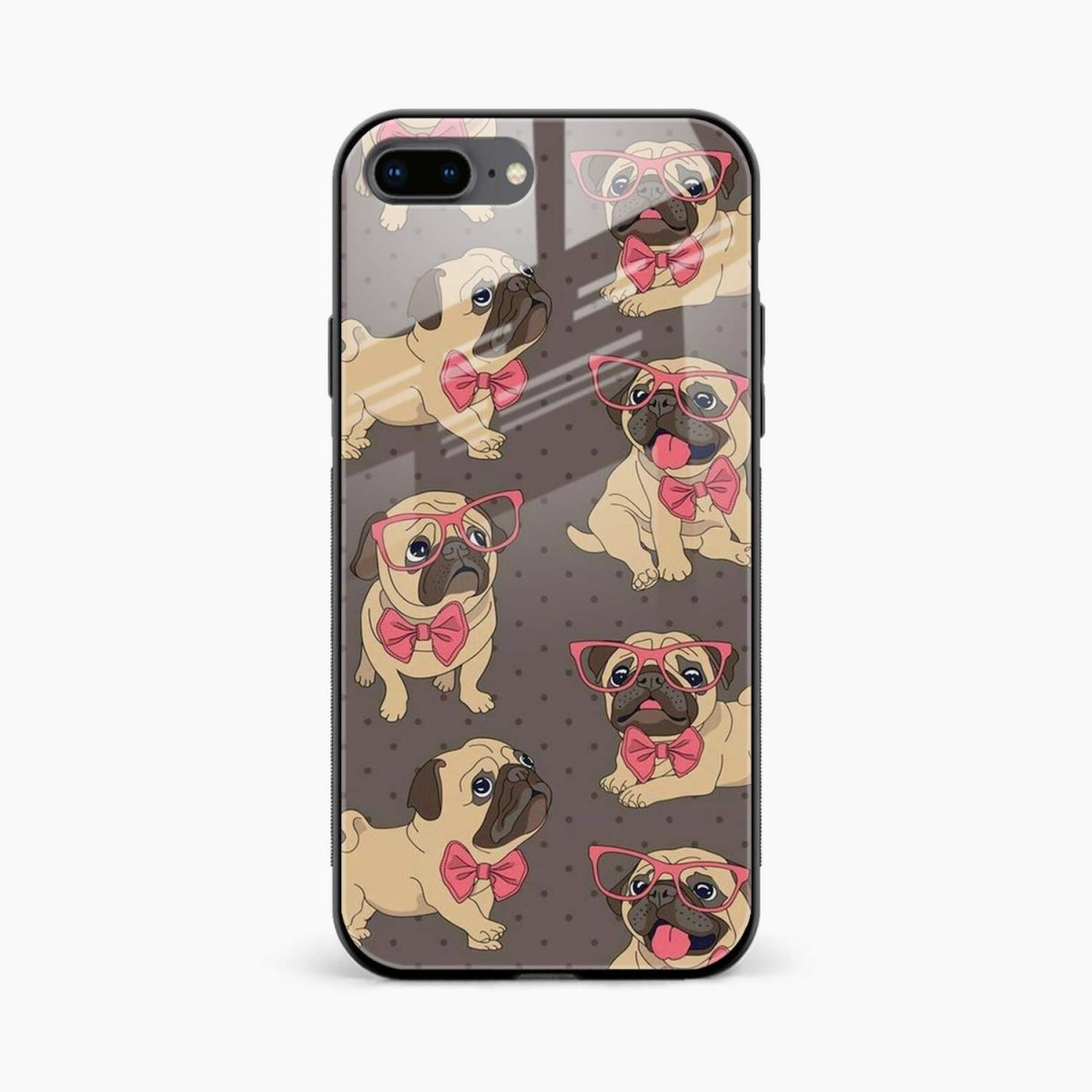 pug cute dog animal pattern diagonal view apple iphone 7 8 plus back cover 2