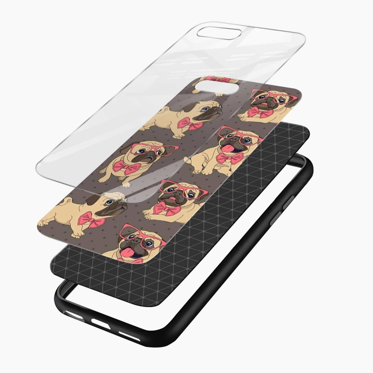 pug cute dog animal pattern diagonal view apple iphone 7 8 plus back cover 4