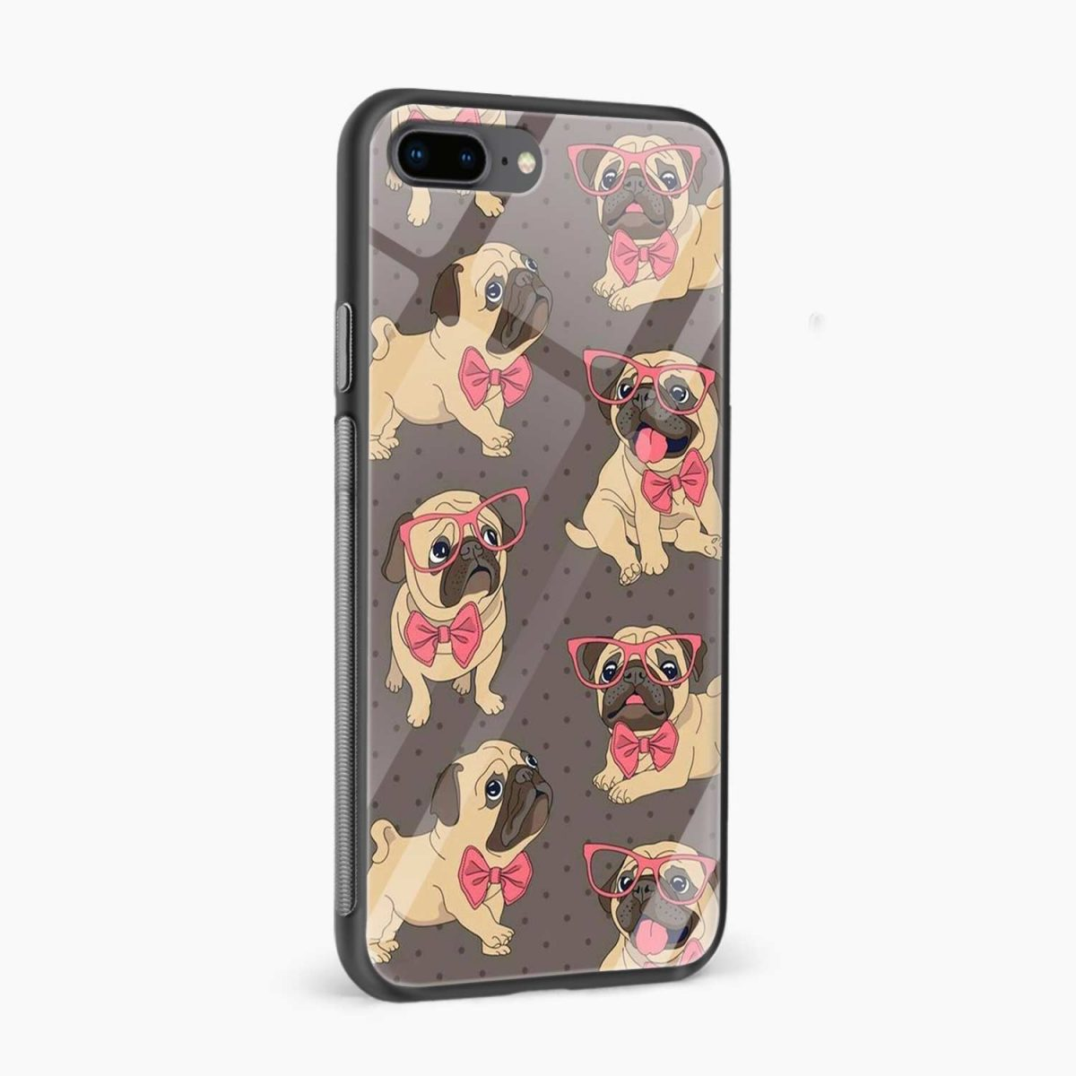 pug cute dog animal pattern diagonal view apple iphone 7 8 plus back cover 5