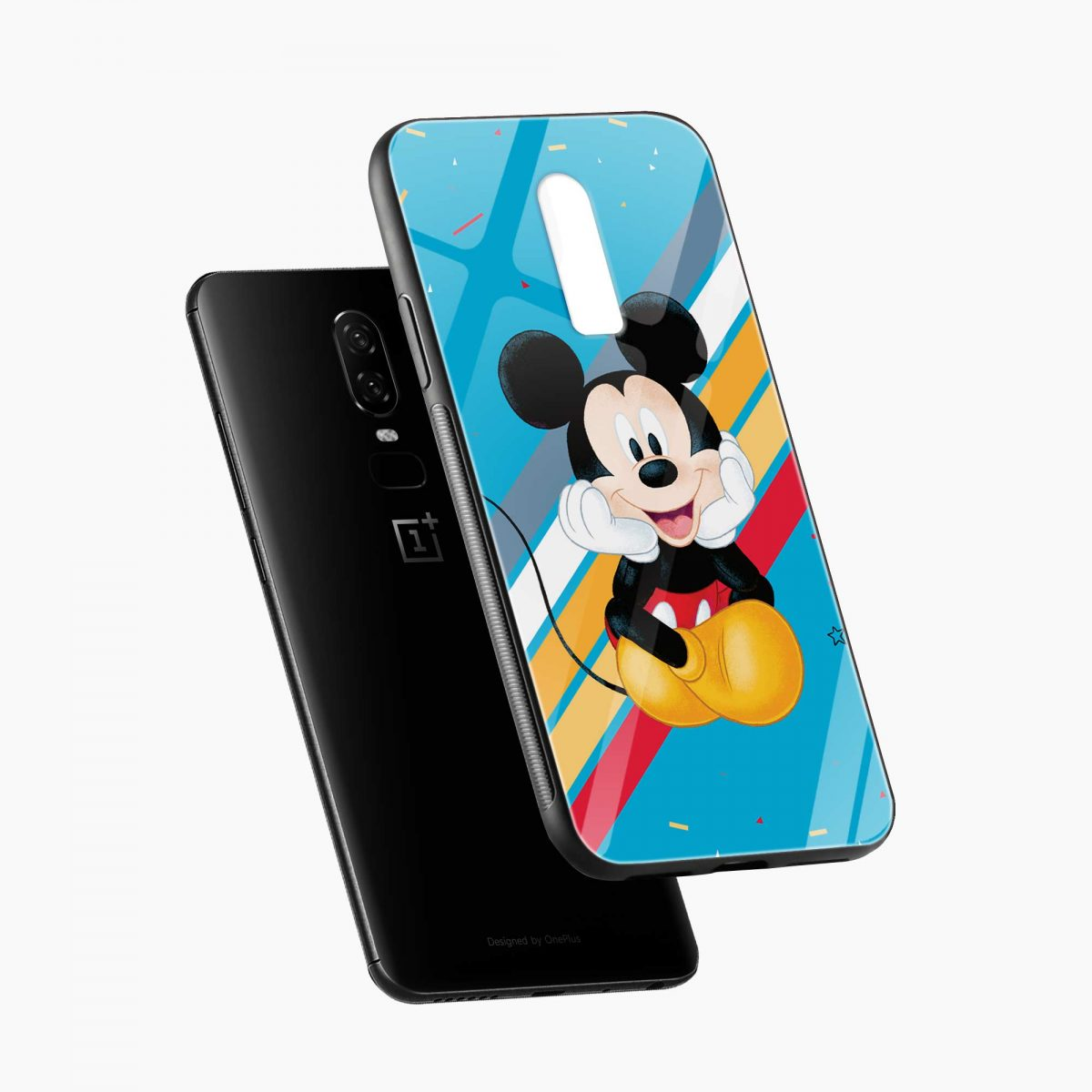 quirky mickey mouse diagonal view oneplus 6 back cover
