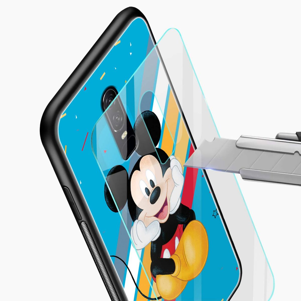 quirky mickey mouse glass view oneplus 6 back cover
