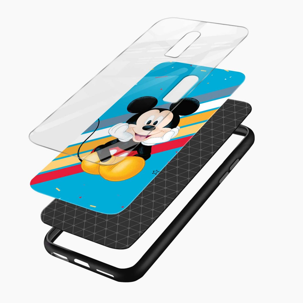 quirky mickey mouse layers view oneplus 6 back cover