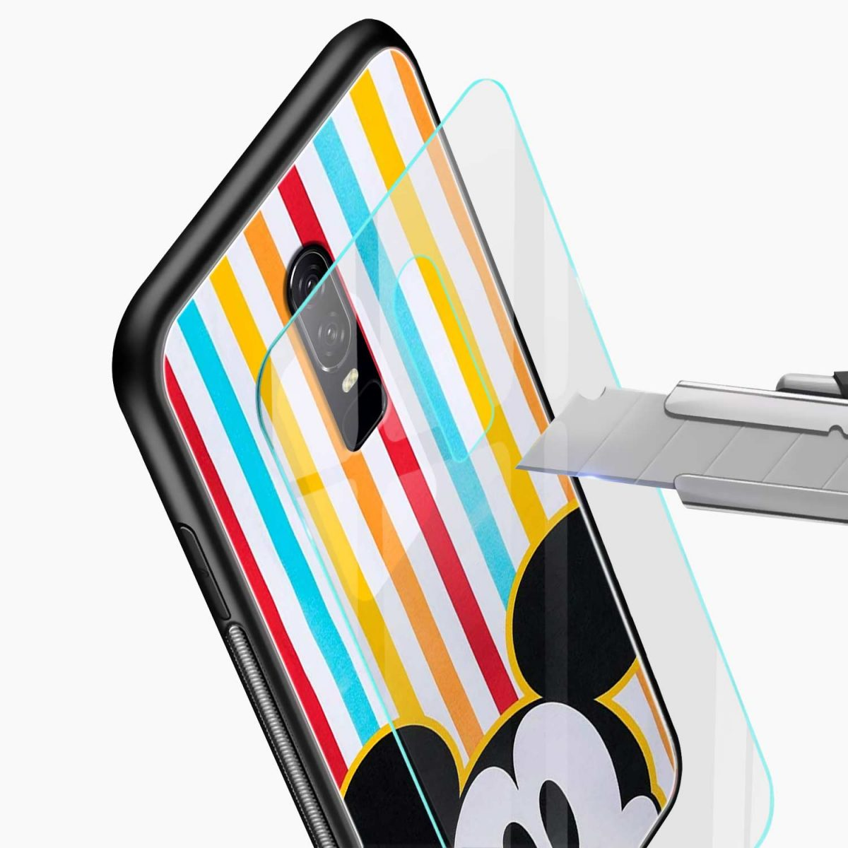 mini mouse glass view oneplus 6 back cover