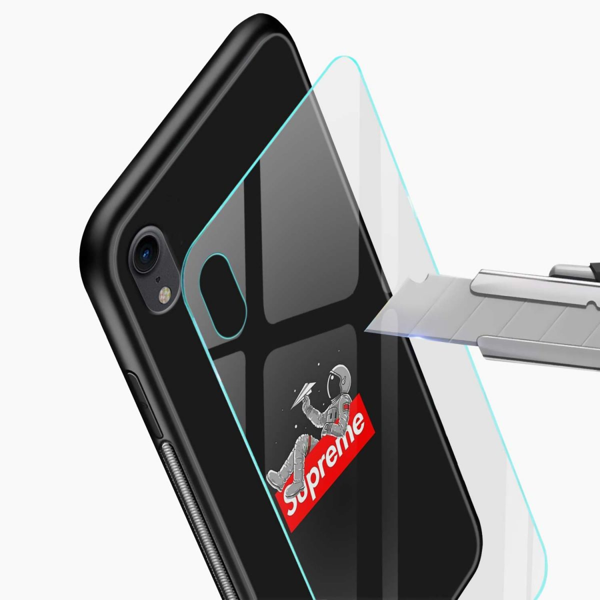 supreme astronaut apple iphone xr back cover glass view