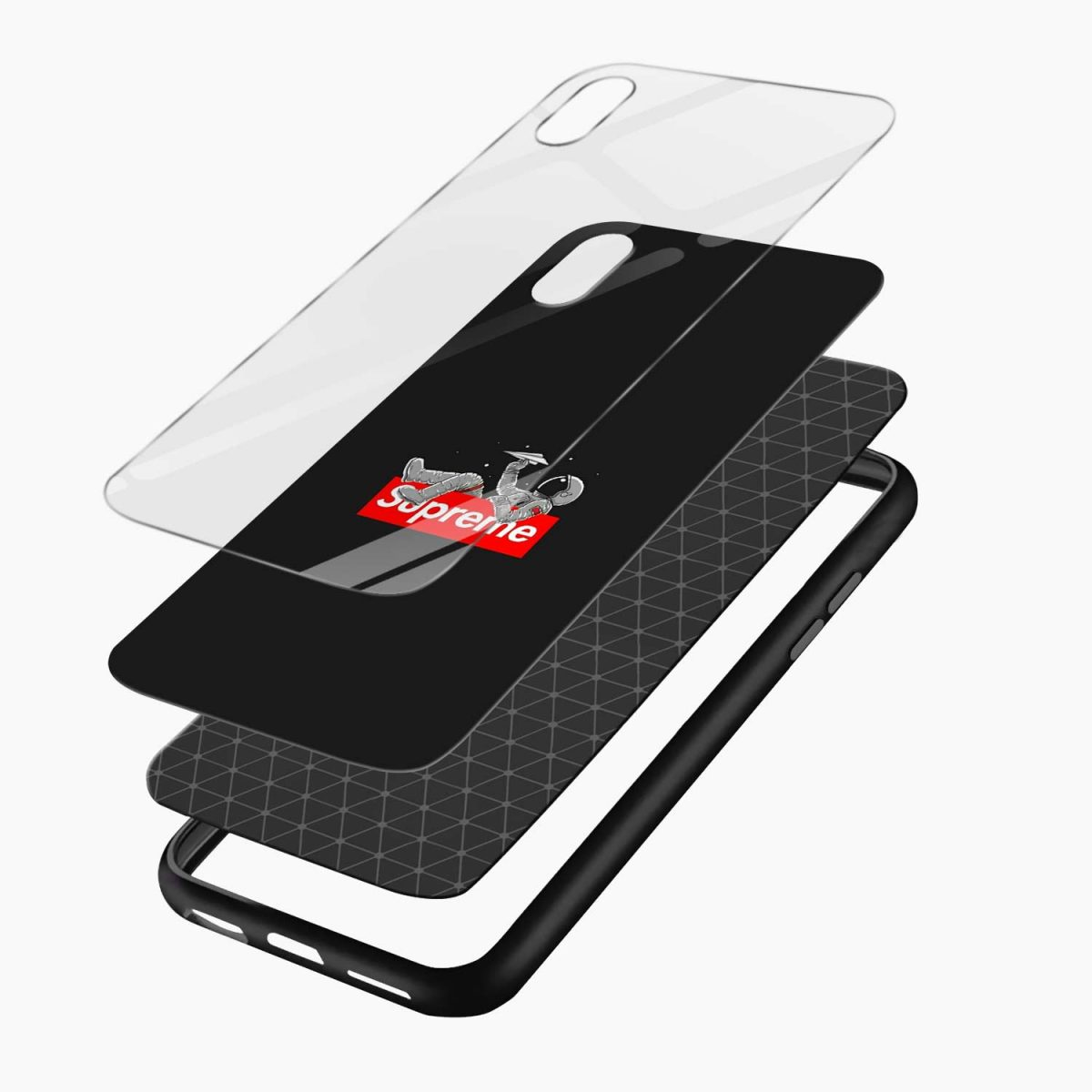 supreme astronaut apple iphone xr back cover layers view