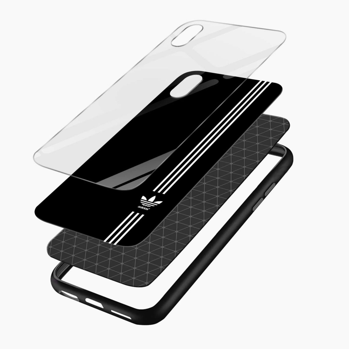 white striped adidas apple iphone xr back cover layers view