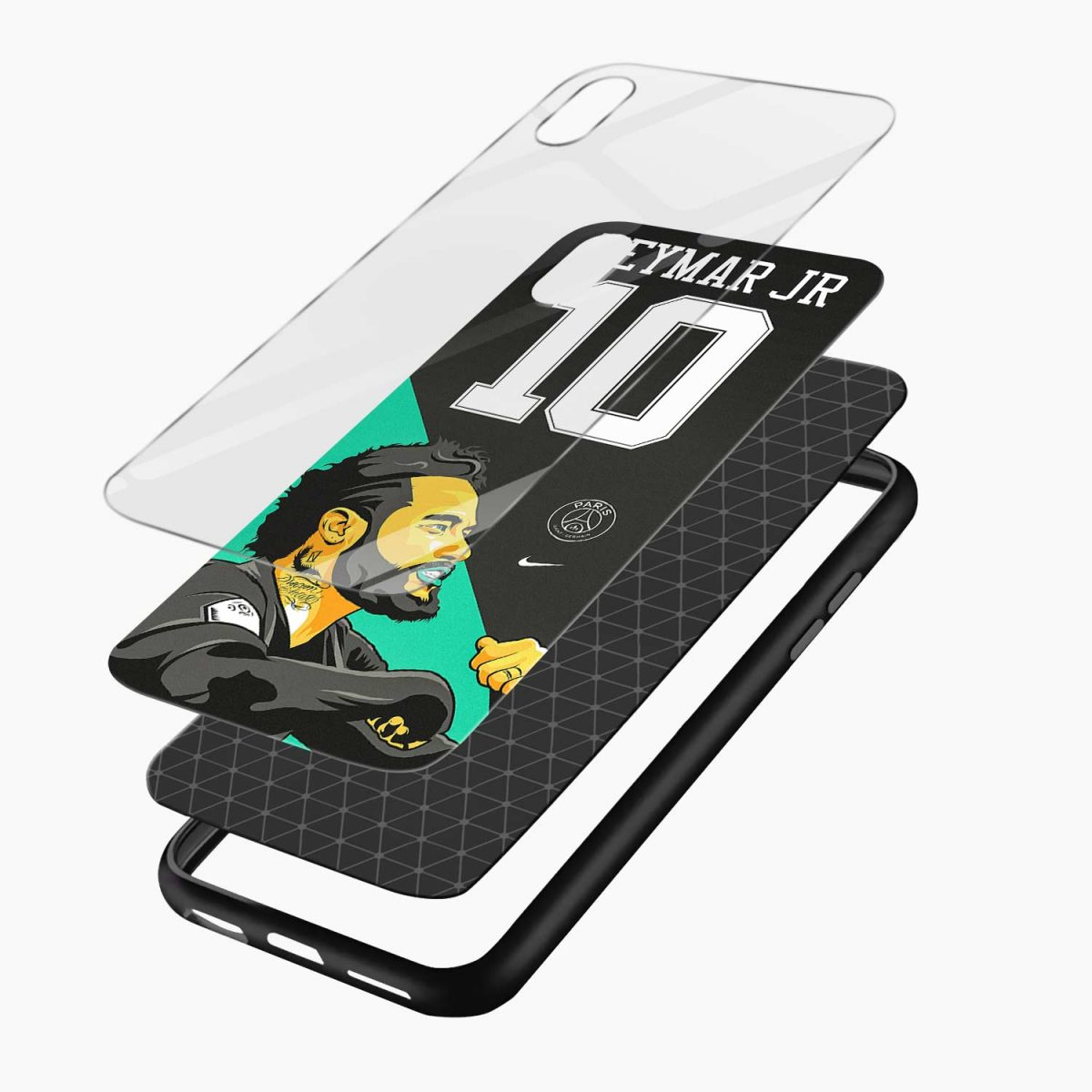 neymar jr 10 apple iphone xr back cover layers view