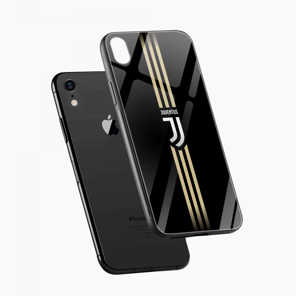 juventus golden strips apple iphone xr back cover diagonal view
