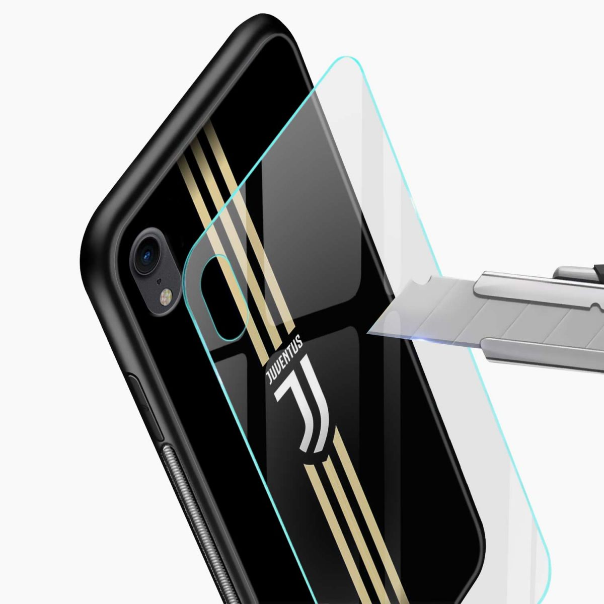 juventus golden strips apple iphone xr back cover glass view