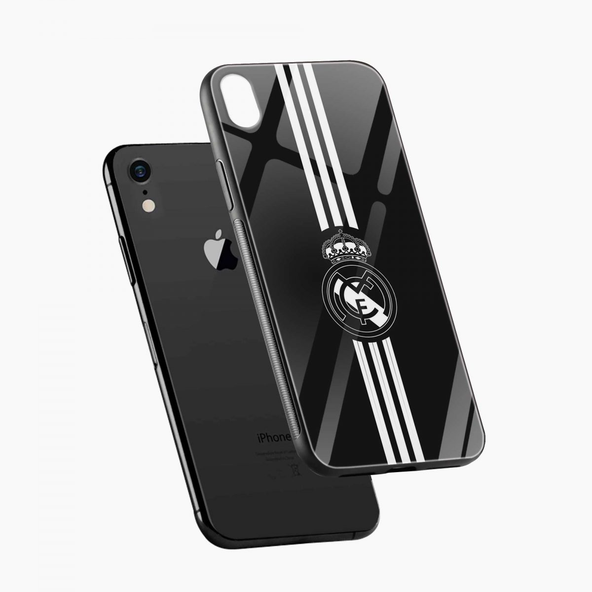 real madrid c f black apple iphone xr back cover diagonal view