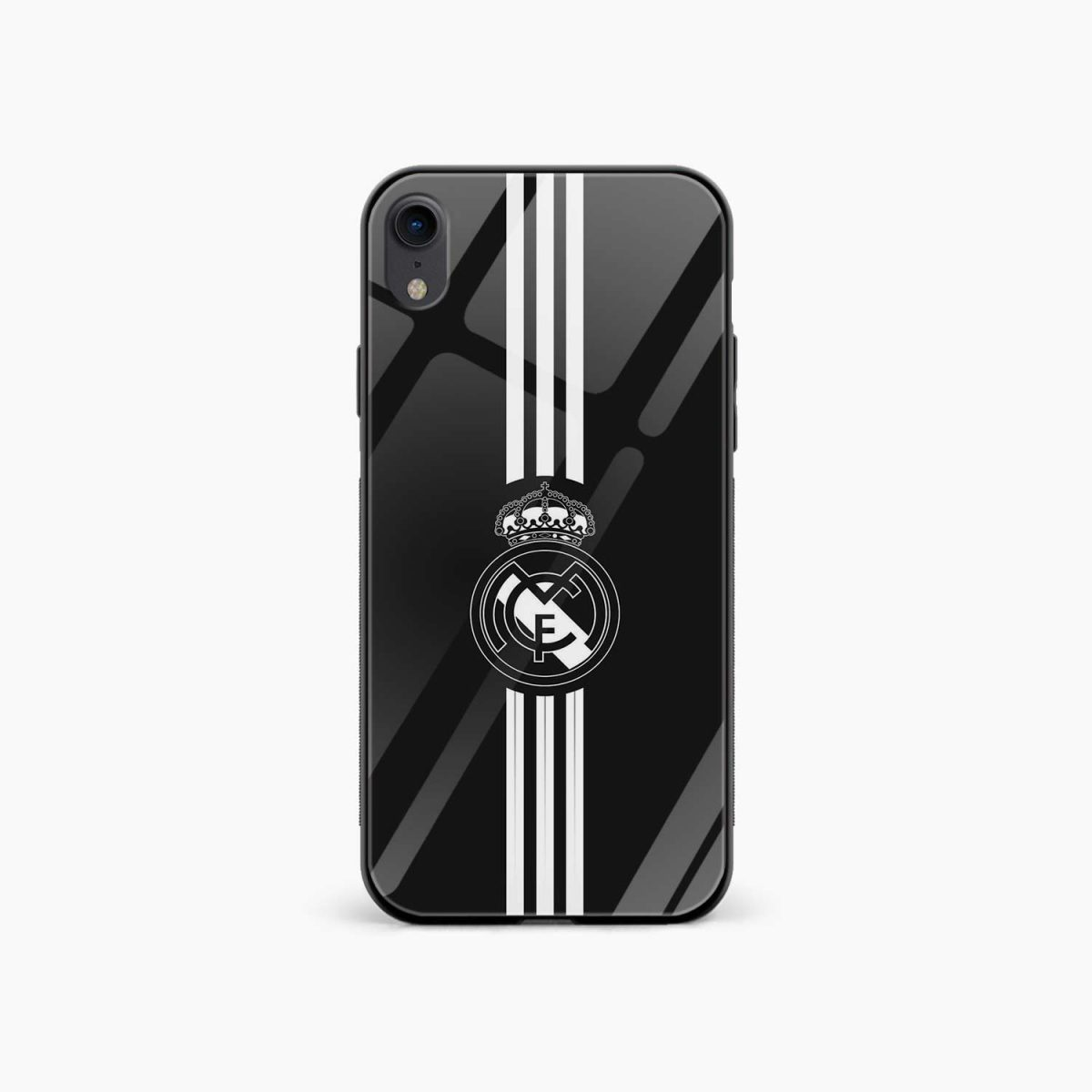 real madrid c f black apple iphone xr back cover front view