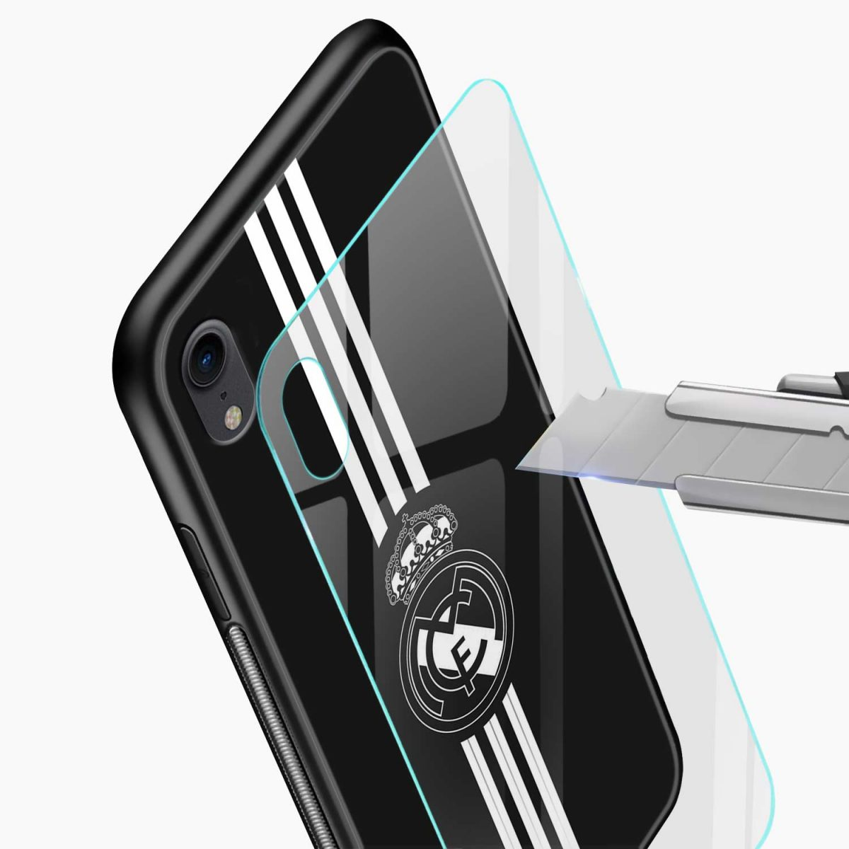 real madrid c f black apple iphone xr back cover glass view
