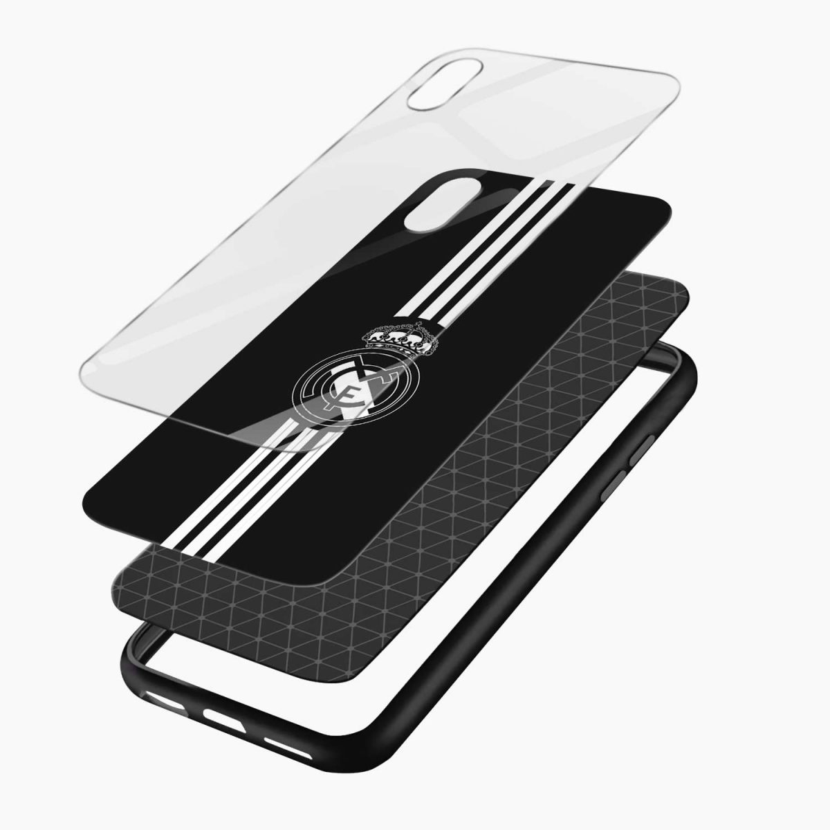 real madrid c f black apple iphone xr back cover layers view