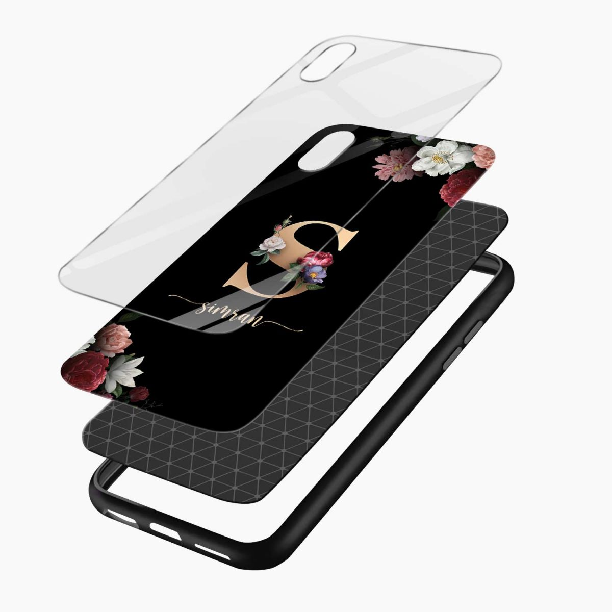 floral black color name personalised apple iphone xr back cover layers view