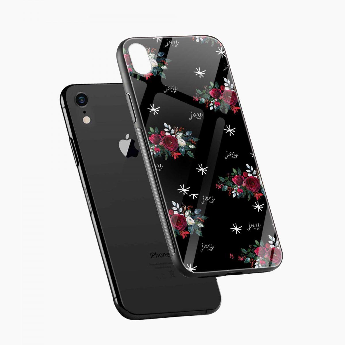 joy floral black coloured apple iphone xr back cover diagonal view