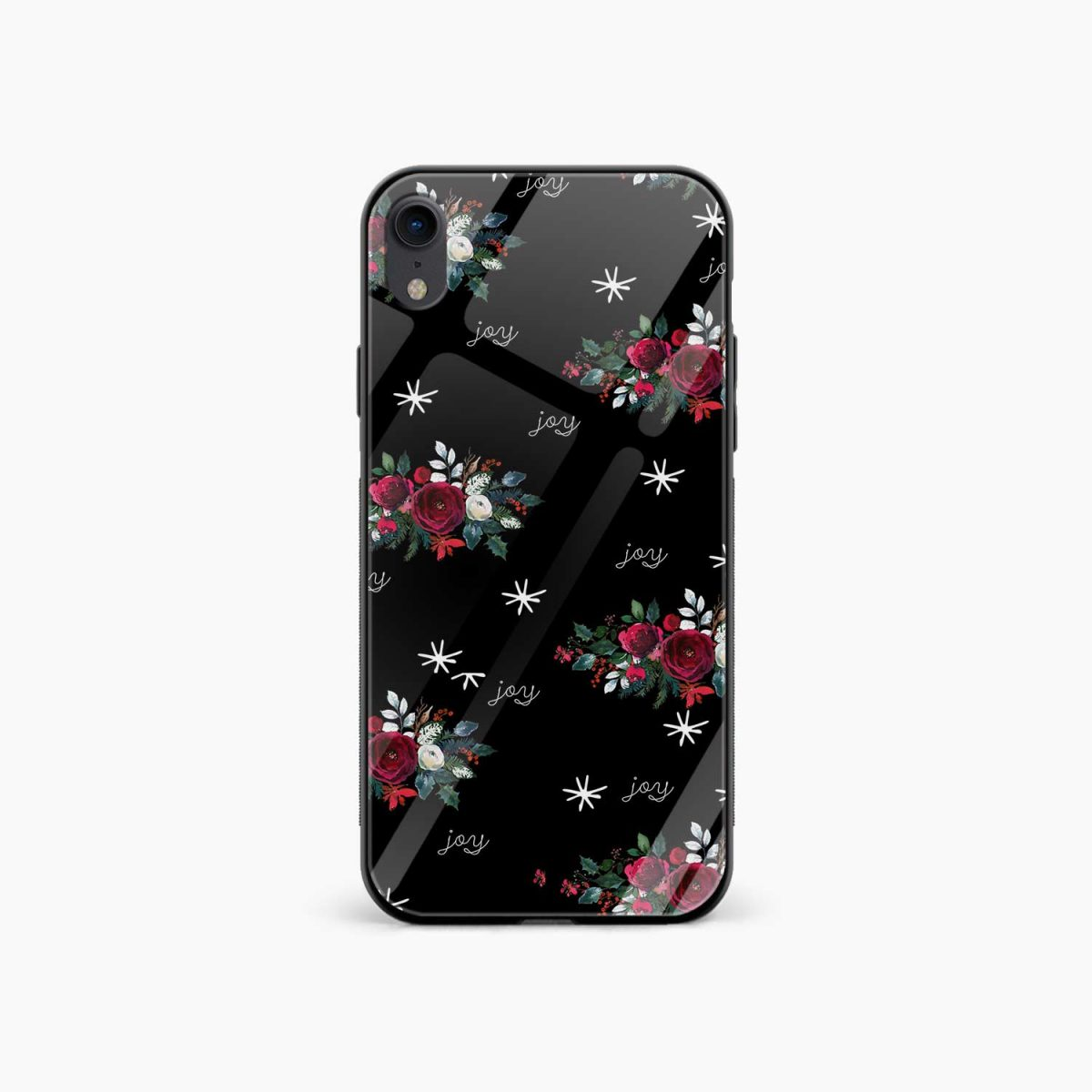 joy floral black coloured apple iphone xr back cover front view