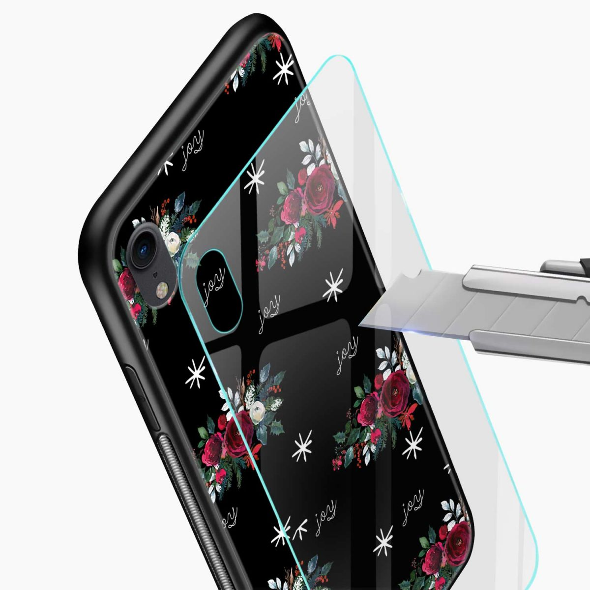 joy floral black coloured apple iphone xr back cover glass view