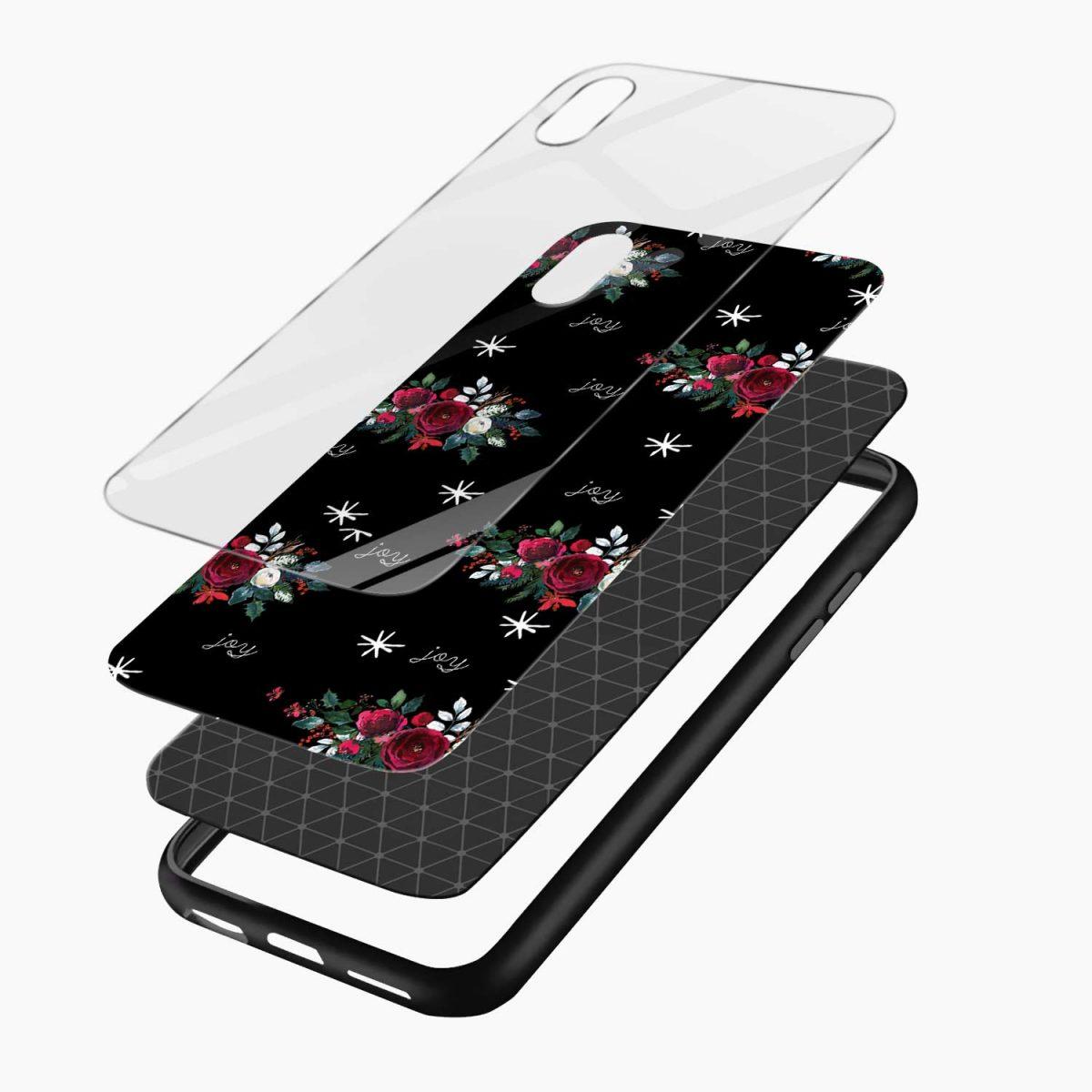 joy floral black coloured apple iphone xr back cover layers view