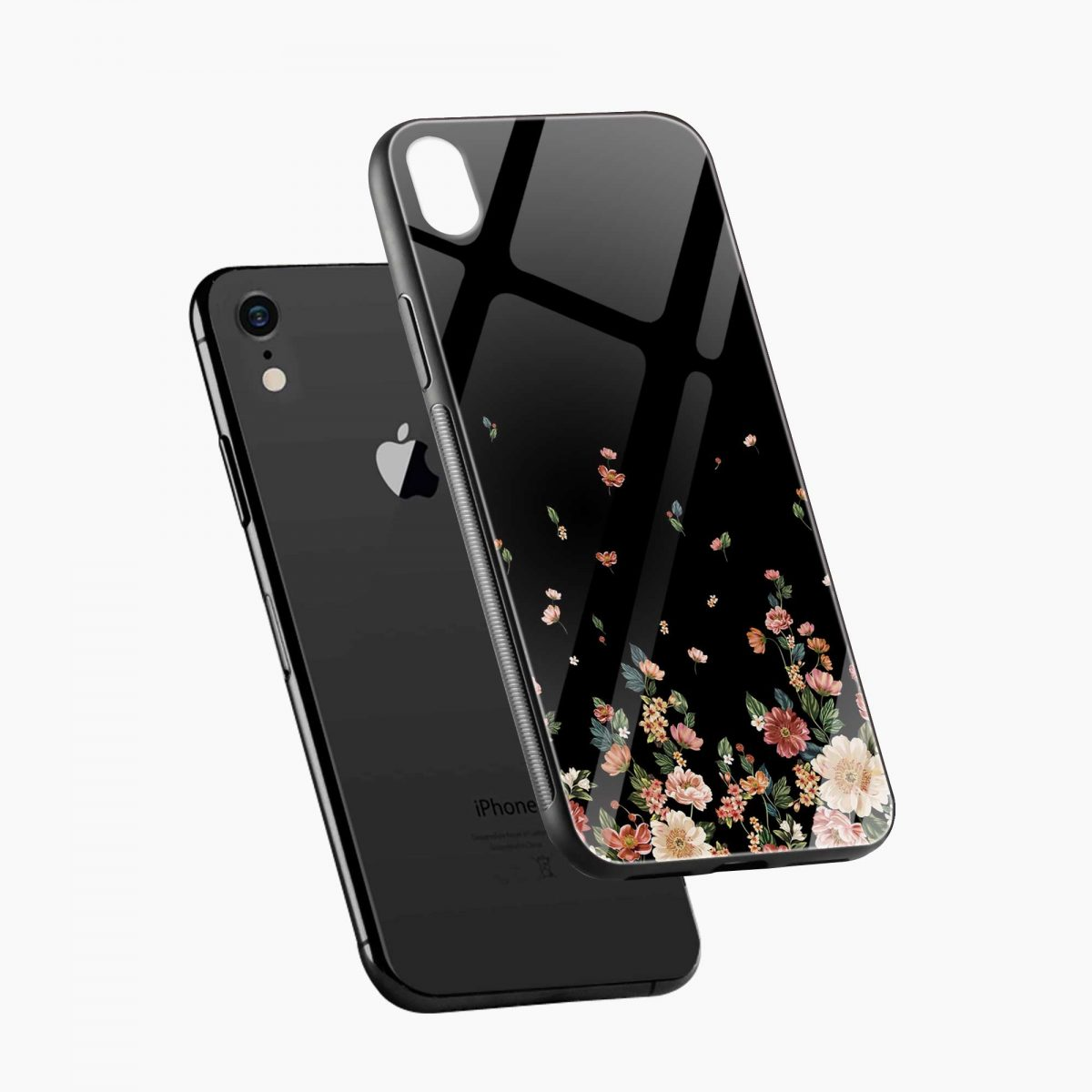graceful floral black colored apple iphone xr back cover diagonal view