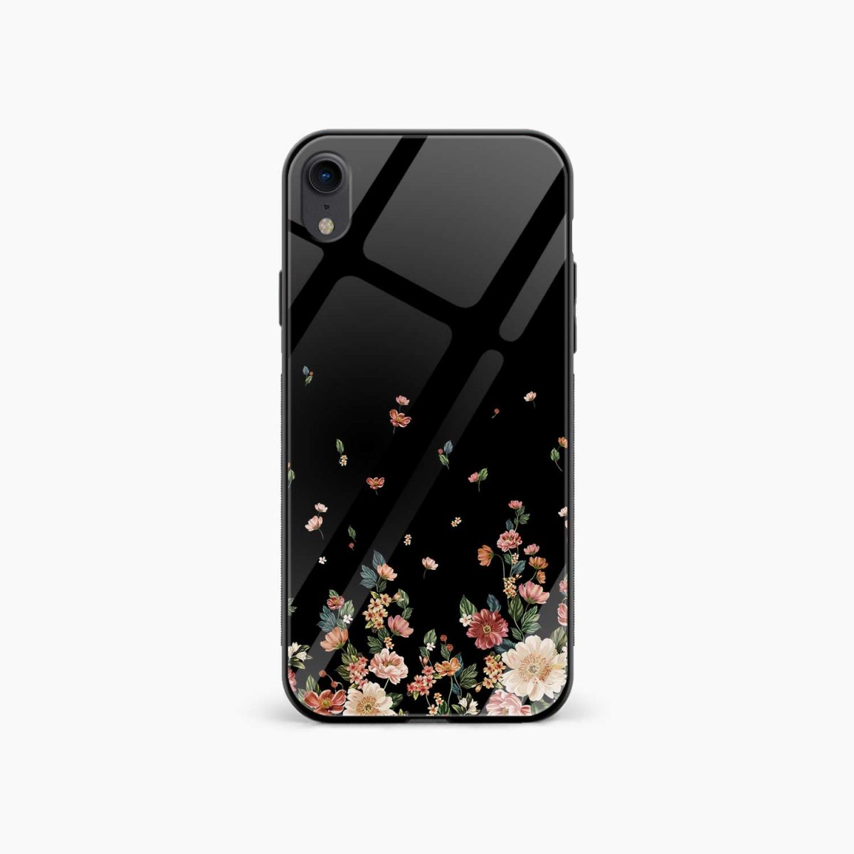 graceful floral black colored apple iphone xr back cover front view