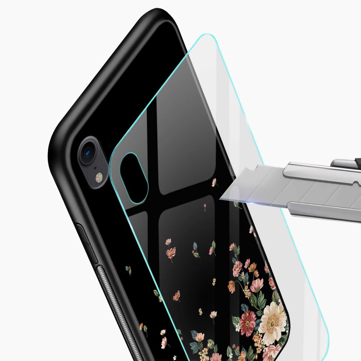 graceful floral black colored apple iphone xr back cover glass view