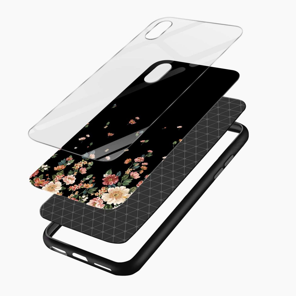 graceful floral black colored apple iphone xr back cover layers view