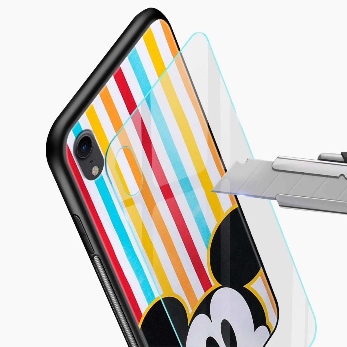 rigid spy mickey mouse apple iphone xr back cover glass view