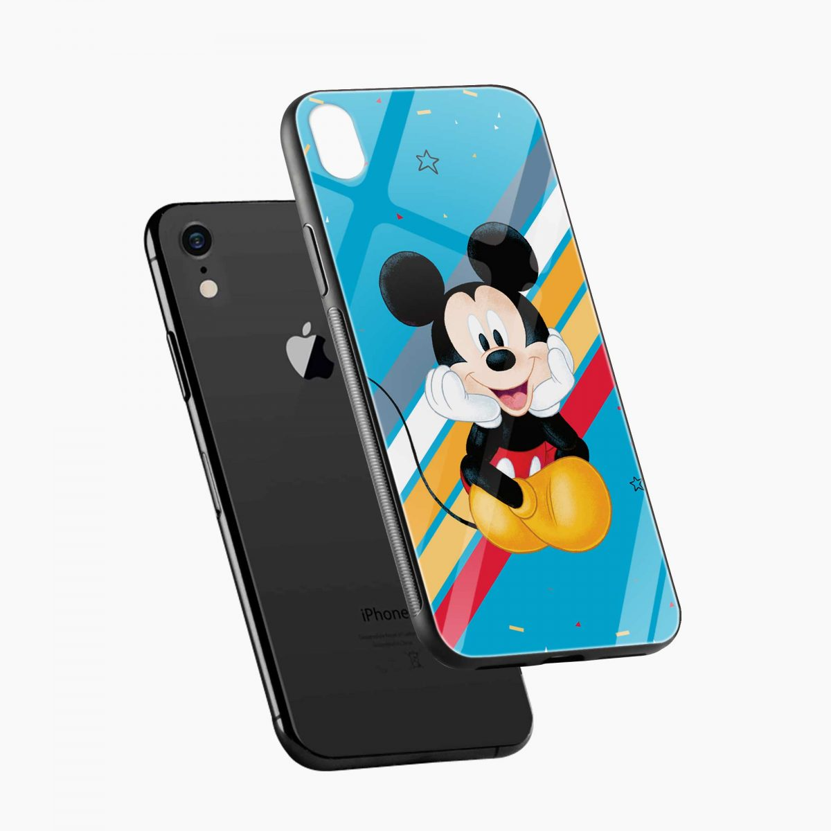 lovely and cute mickey mouse disney cartoon apple iphone xr back cover diagonal view