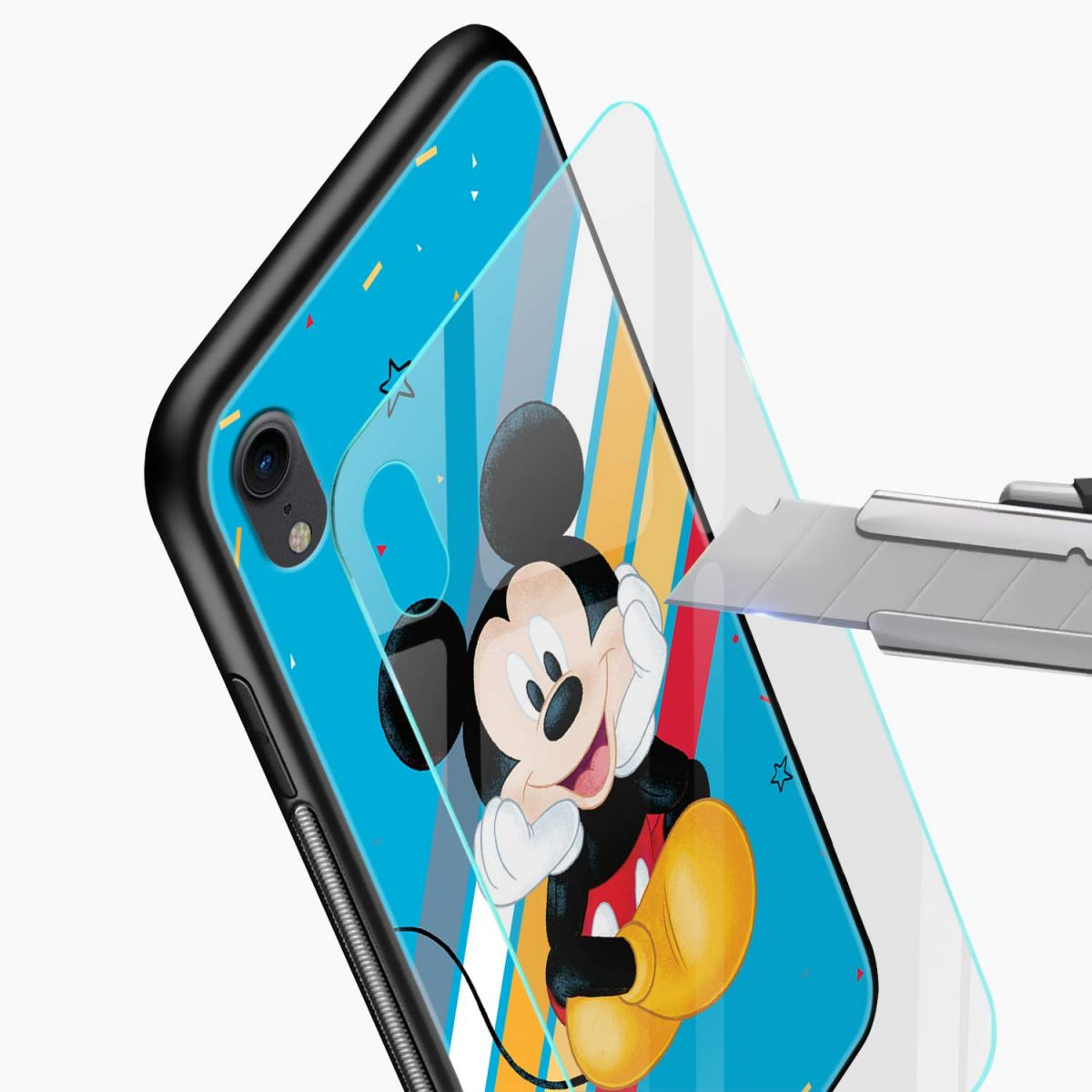 lovely and cute mickey mouse disney cartoon apple iphone xr back cover glass view