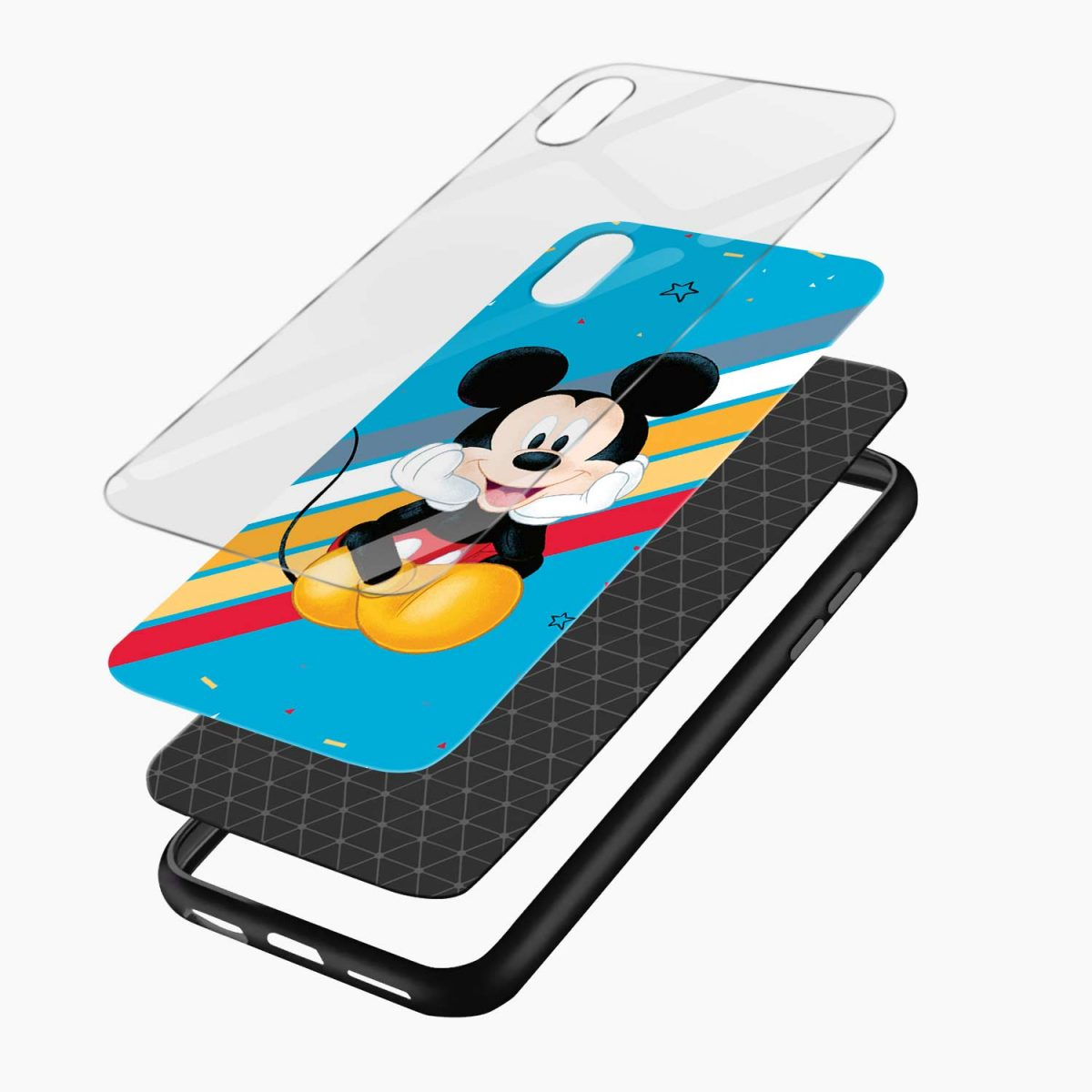 lovely and cute mickey mouse disney cartoon apple iphone xr back cover layers view