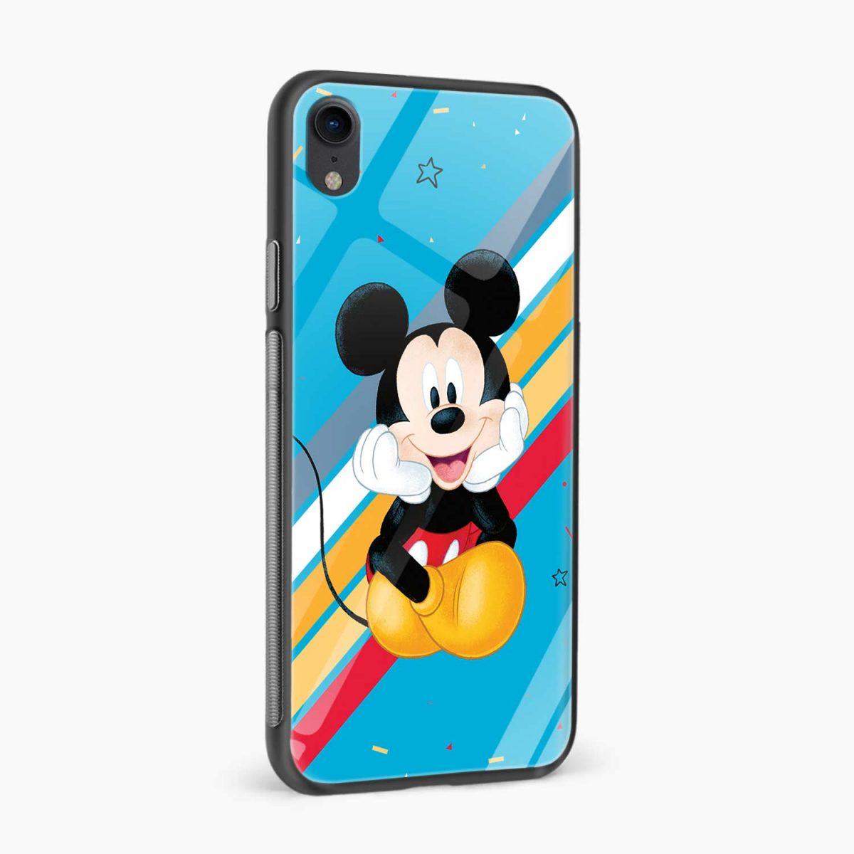 lovely and cute mickey mouse disney cartoon apple iphone xr back cover side view
