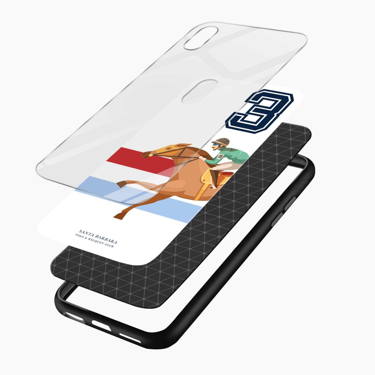 3 d santa barbara polo apple iphone xr back cover layers view