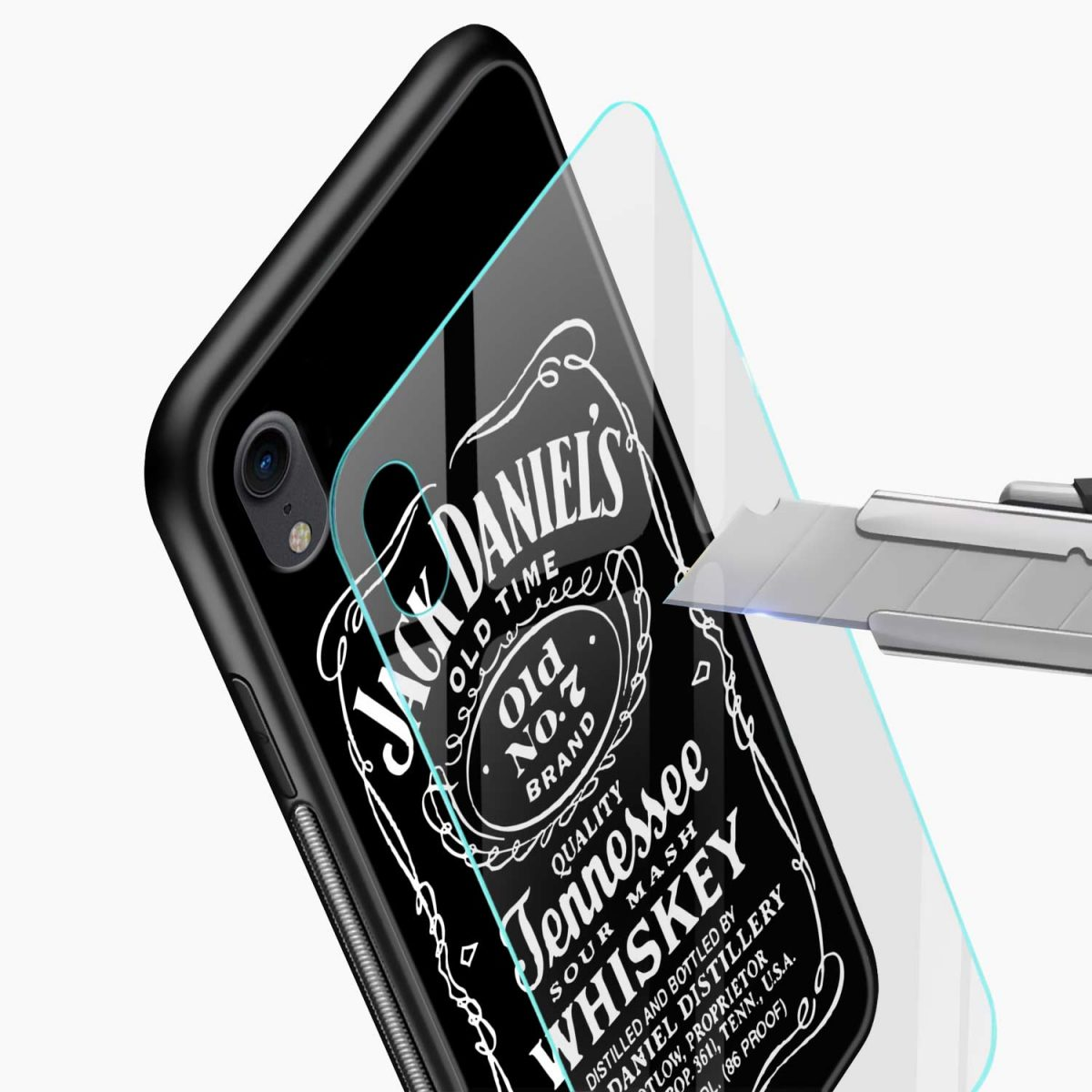 jack daniels whiskey apple iphone xr back cover glass view