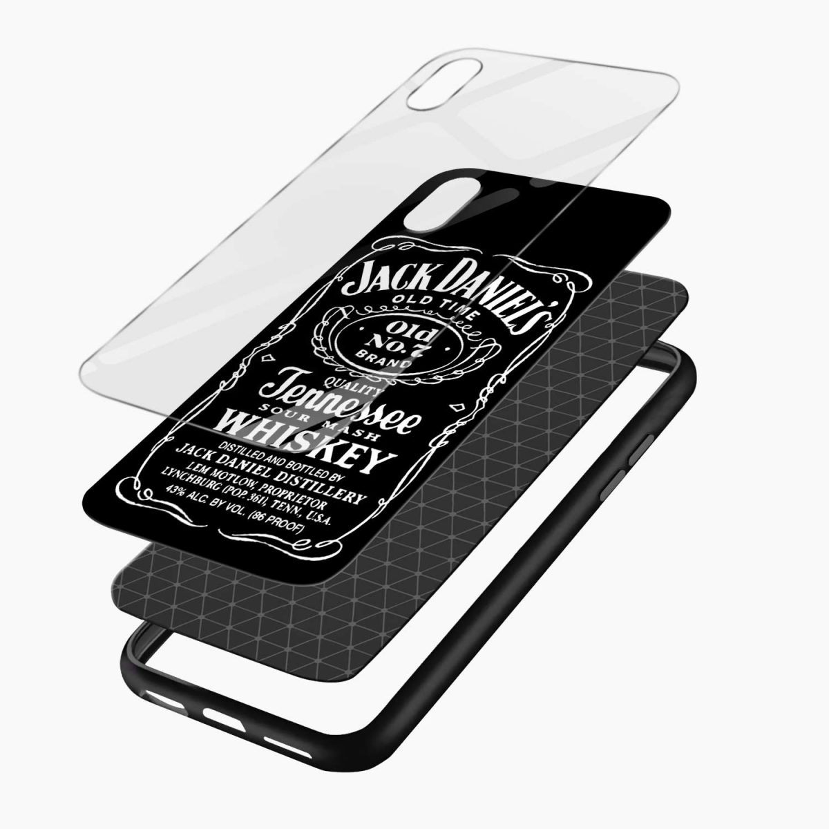 jack daniels whiskey apple iphone xr back cover layers view