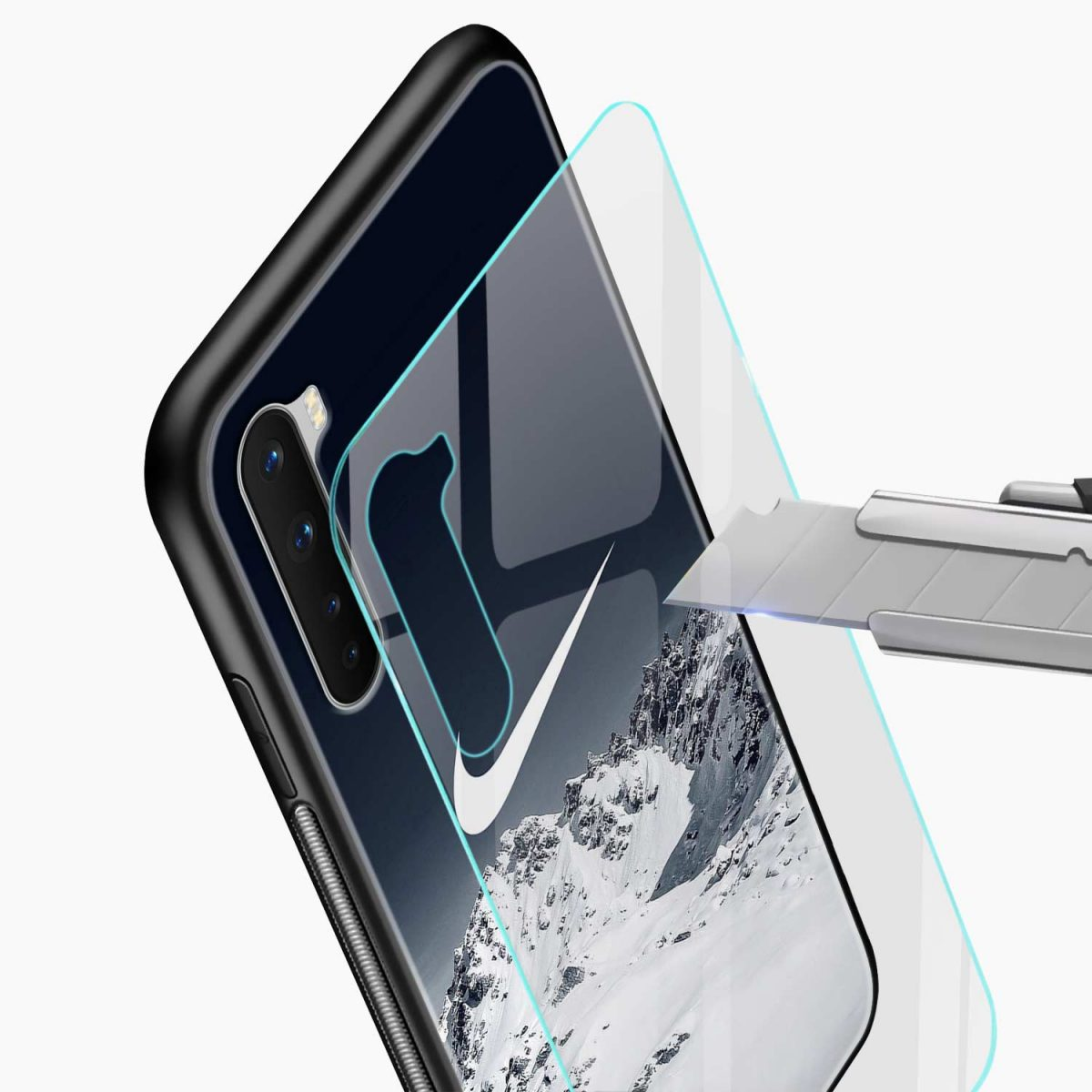 nike mountains glass view oneplus nord back cover