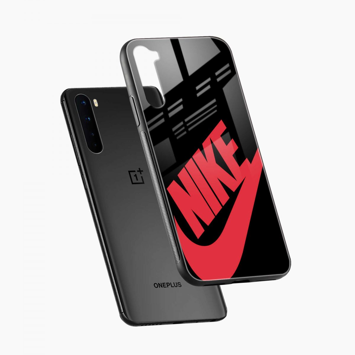 big red nike diagonal view oneplus nord back cover