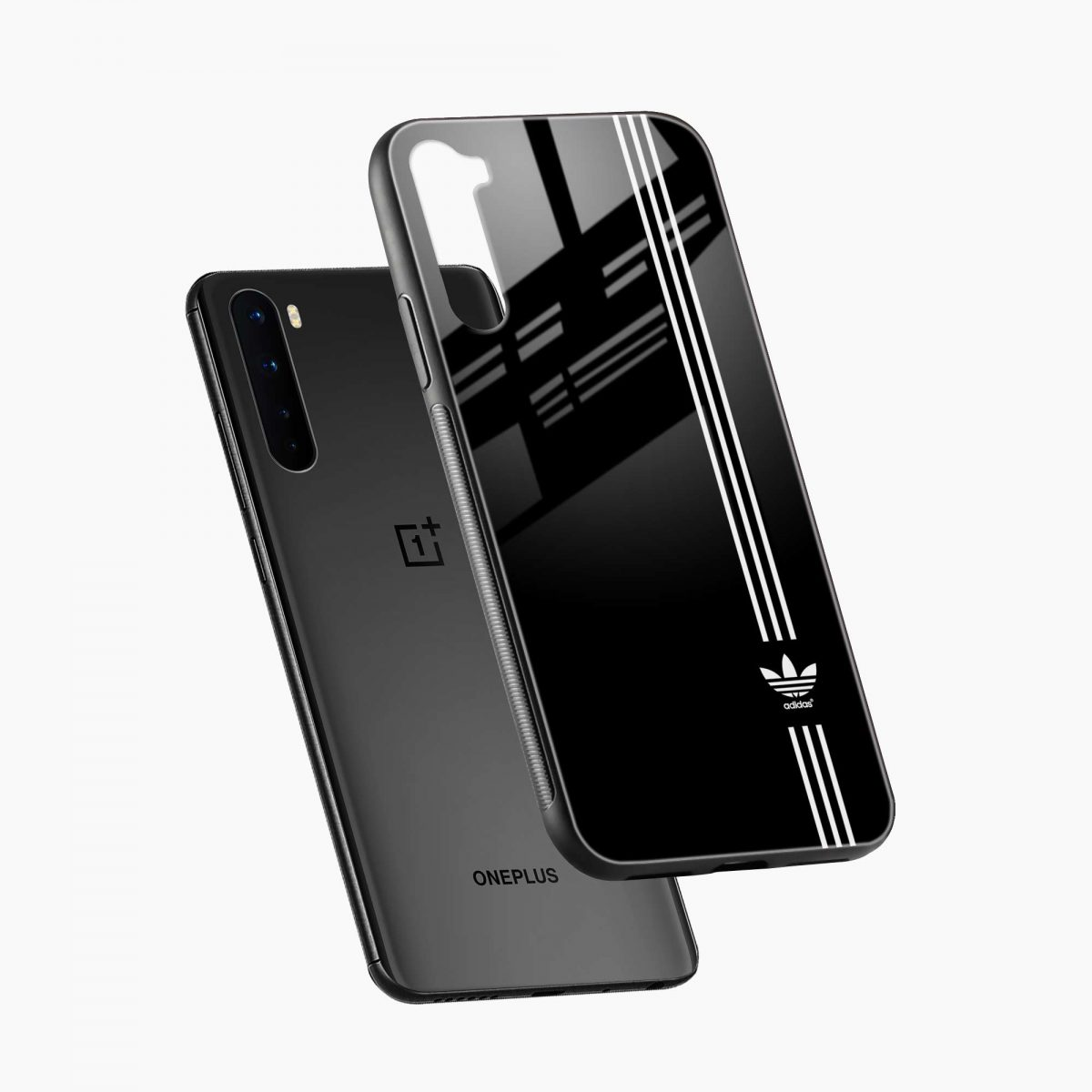 white striped adidas diagonal view oneplus nord back cover