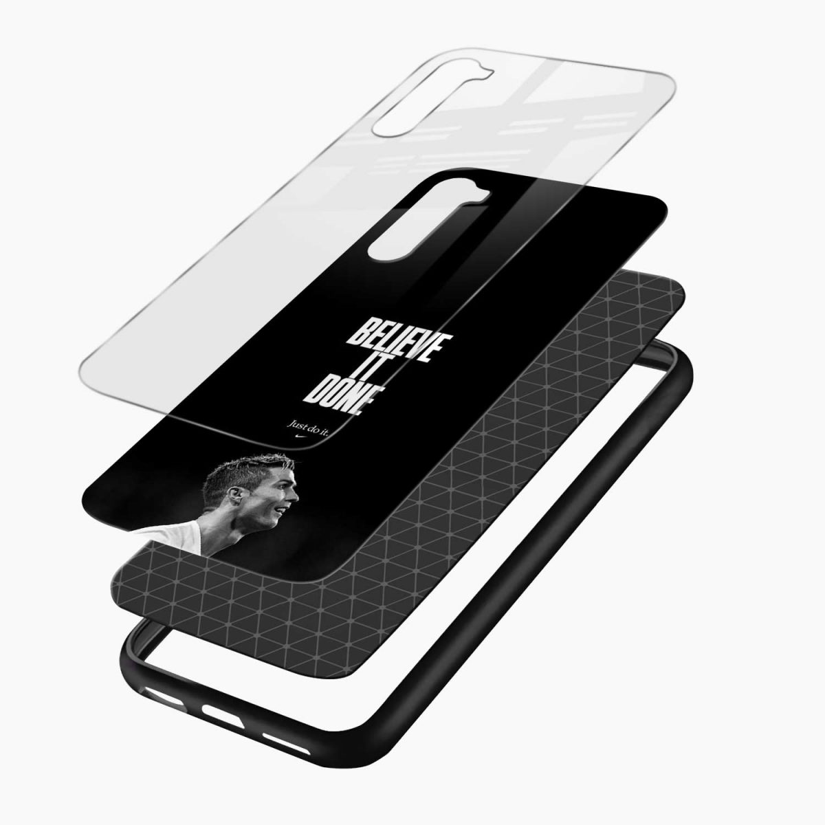 christiano ronaldo black white layers view oneplus nord back cover