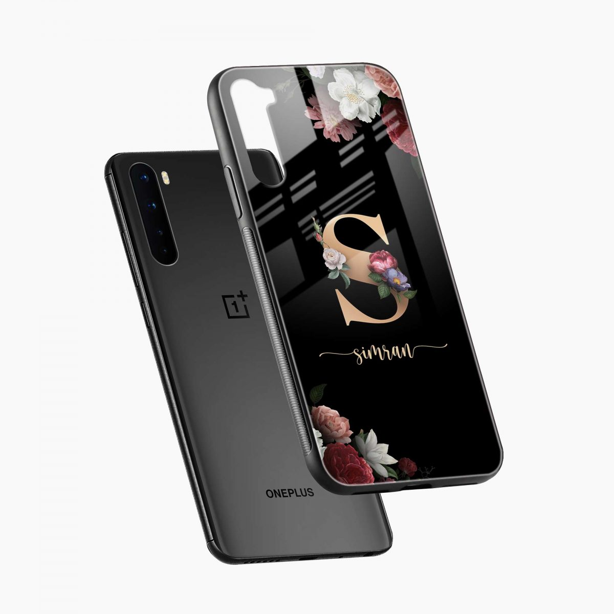 floral black colored name personalized diagonal view oneplus nord back cover