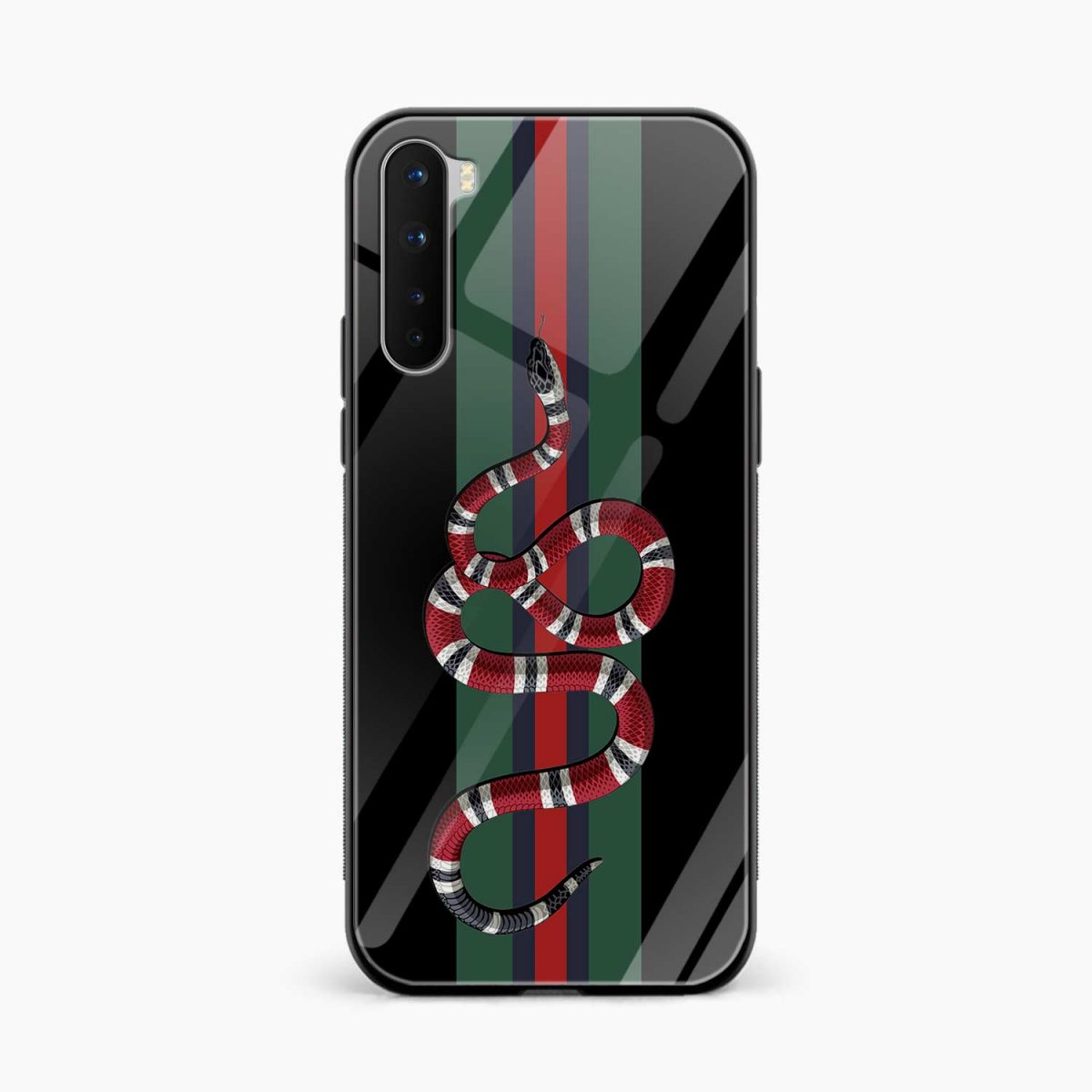 gucci snake with strips front view oneplus nord back cover