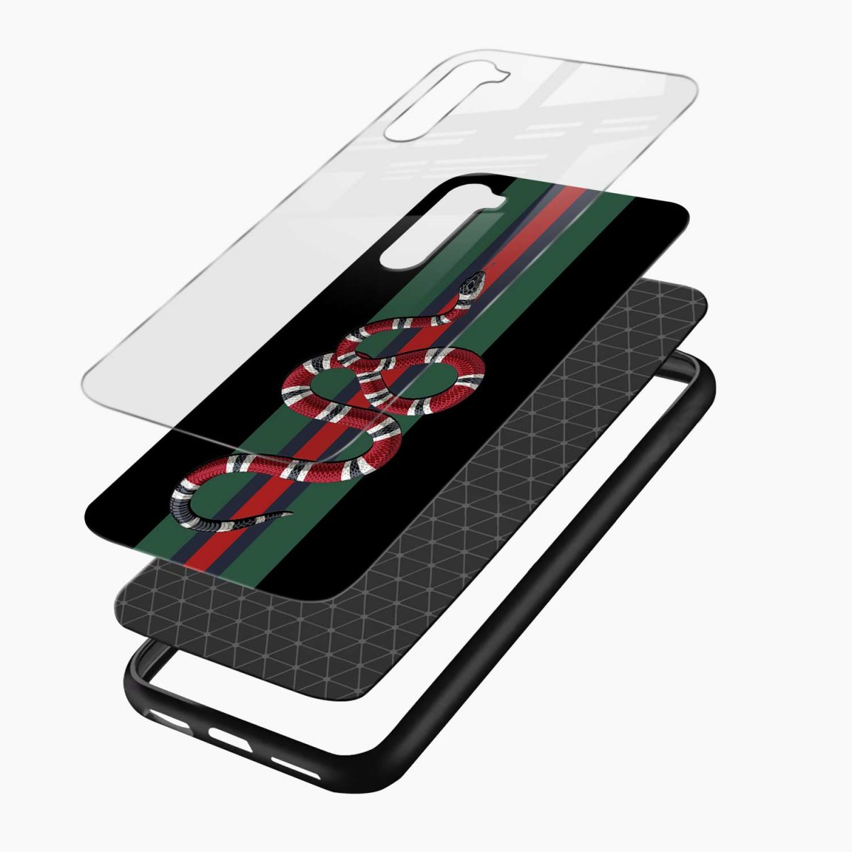 gucci snake with strips layers view oneplus nord back cover